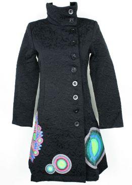 Desigual mantel schwarz mit kreisen