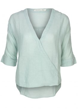 Yaya Wrap Shirt Blue Mint