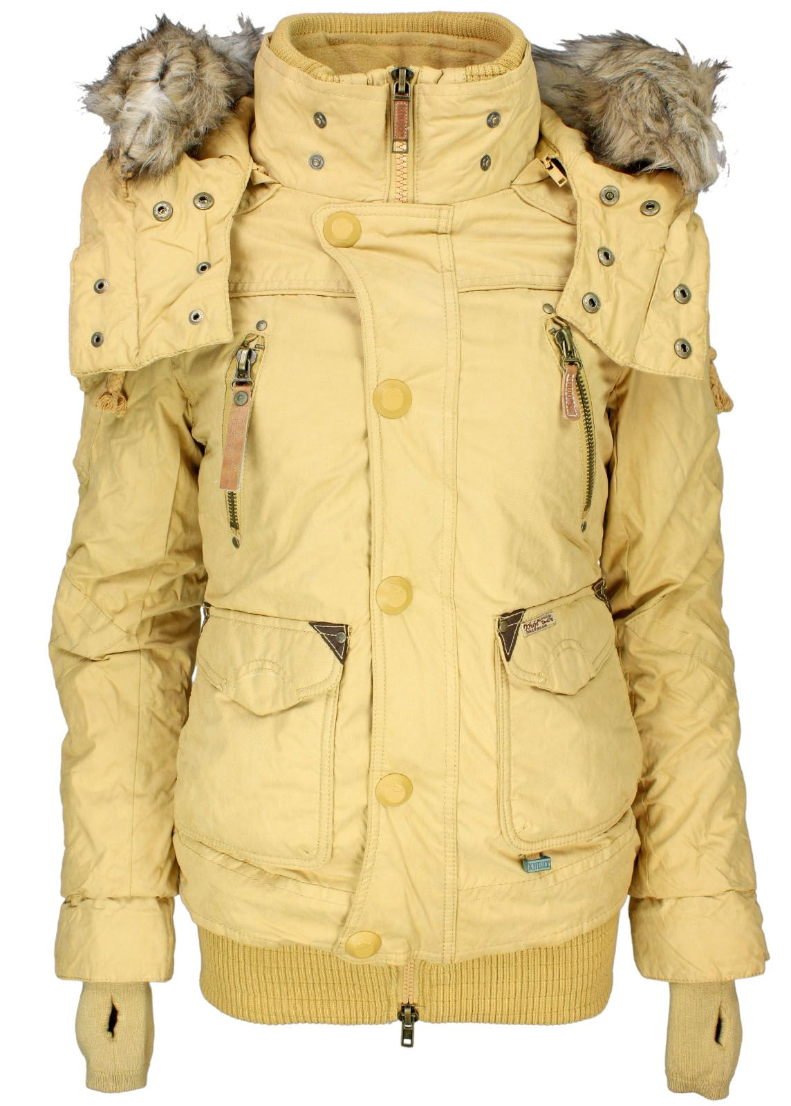 khujo damen winter jacke margret yellow neu ebay. Black Bedroom Furniture Sets. Home Design Ideas