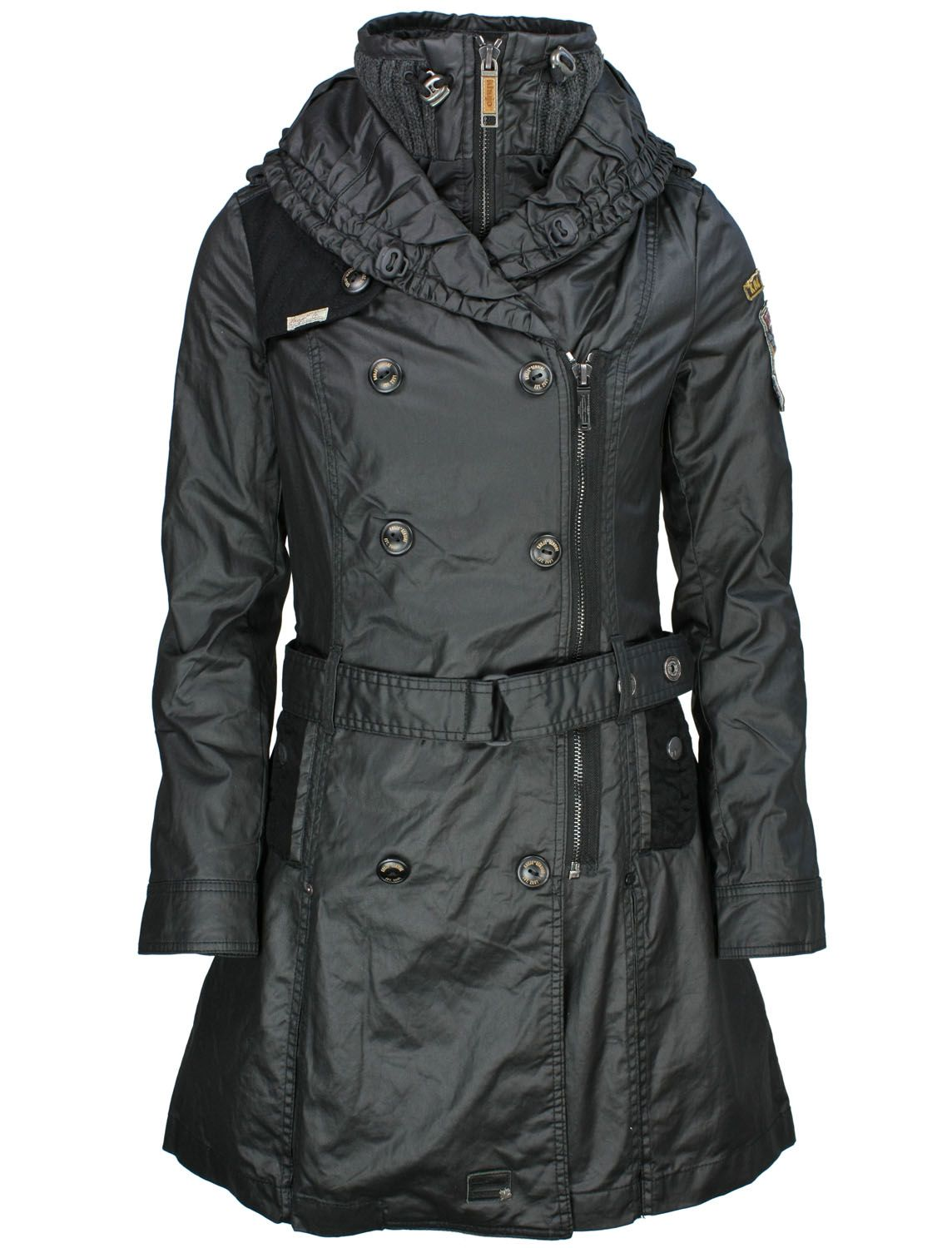 khujo Wintermantel Samantha Plain Black fettebeute Online Shop