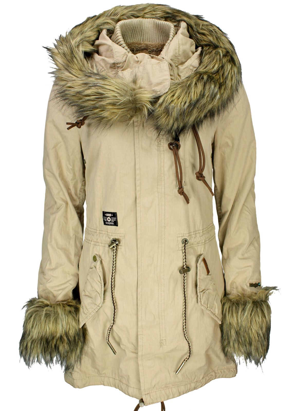 khujo damen winter jacke parka wolve ij cuffs sand ebay. Black Bedroom Furniture Sets. Home Design Ideas